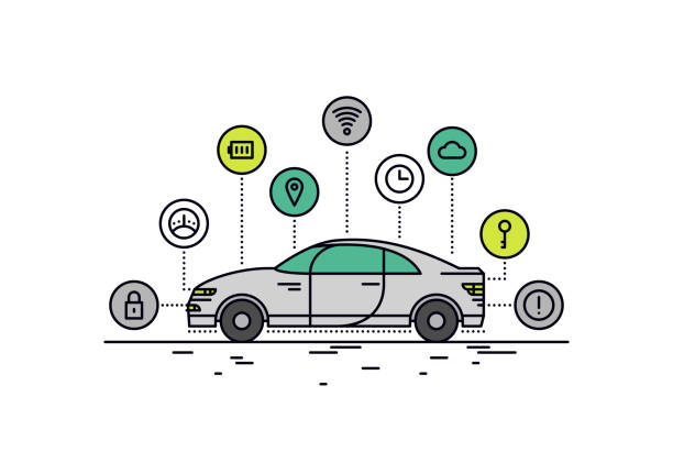 driverless car line style illustration - self driving cars stock illustrations, clip art, cartoons, & icons