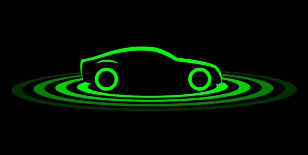 driverless car simple symbol - self driving cars stock illustrations, clip art, cartoons, & icons