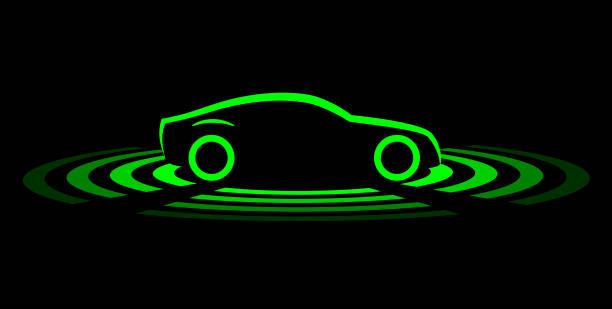 fahrerloses auto einfaches symbol - selbstfahrende autos stock-grafiken, -clipart, -cartoons und -symbole
