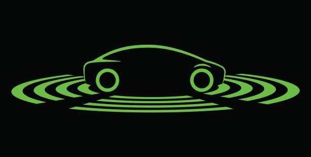 ロボットカーのシンボル - 自動運転車点のイラスト素材/クリップアート素材/マンガ素材/アイコン素材