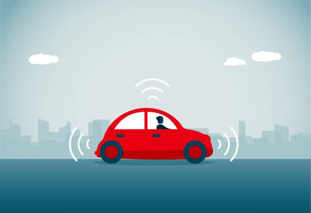 運転手の車 - 自動運転車点のイラスト素材/クリップアート素材/マンガ素材/アイコン素材