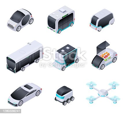 Driverless cars. Future smart vehicles. Unmanned city transport, autonomous truck and drone. Isometric vector isolated icons