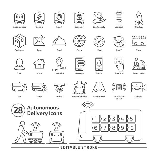 illustrazioni stock, clip art, cartoni animati e icone di tendenza di driverless delivery vehicle editable stroke line icon set with thin outline illustration of van and robocourier for packages and food transportation. - marciapiede