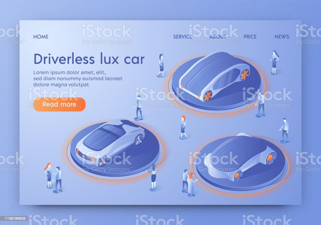 Driverless Lux Car Banner, People Visiting Show Room Exhibition with...