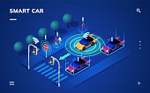 Driverless or self driving car at road. Futuristic autonomous vehicle remote sensing system. Isometric view on smart auto near traffic light, 3d transport with wireless signal.Autopilot and navigation