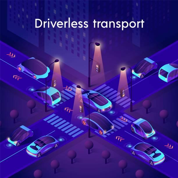 illustrations, cliparts, dessins animés et icônes de néon de transport sans conducteur. voitures intelligentes autonomes - voiture nuit