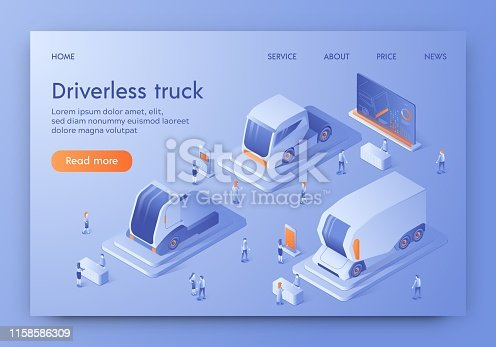 Driverless Truck Banner, Autonomous Commercial Vehicle with Artificial Intelligence Control Expo. People Visiting Show Room Exhibition with Unmanned Auto, Future Cars. Isometric 3d Vector Illustration