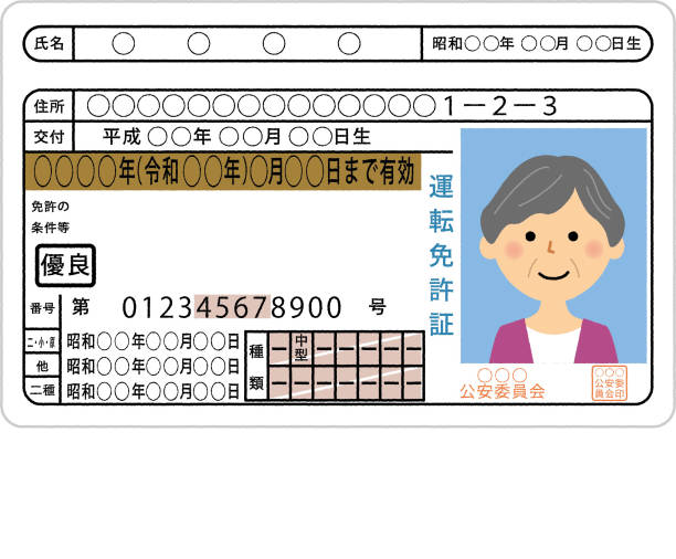 Driver's license, Elderly person - illustrazione arte vettoriale