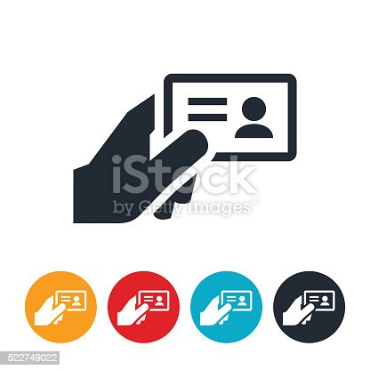 An icon of a hand holding a drivers license, ID card or business card.