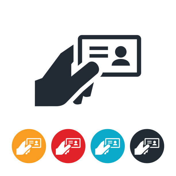 Drivers License Icon An icon of a hand holding a drivers license, ID card or business card. id card stock illustrations