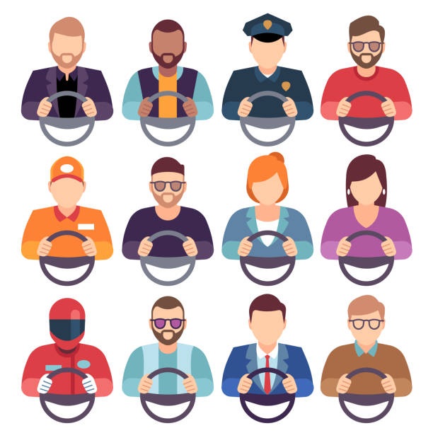 Drivers set. Car person man woman driver hands work steering wheel profession service courier chauffeur icon flat Drivers set. Car person man woman driver hands work steering wheel profession service courier chauffeur icon flat, vector illustration driveway stock illustrations