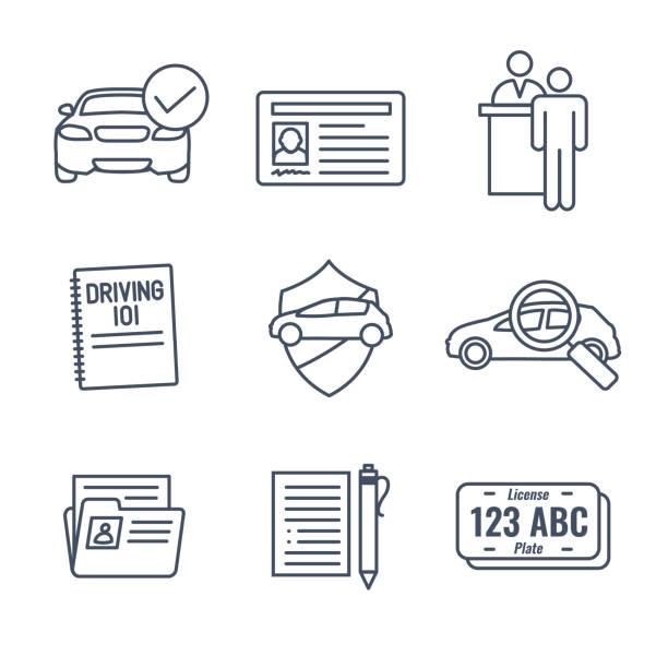 treiber test und lizenz-icon set und-web-header-banner - nummernschilder stock-grafiken, -clipart, -cartoons und -symbole