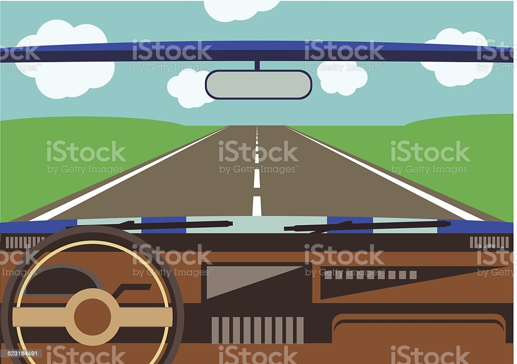 driver's view from a car window to the road vector art illustration