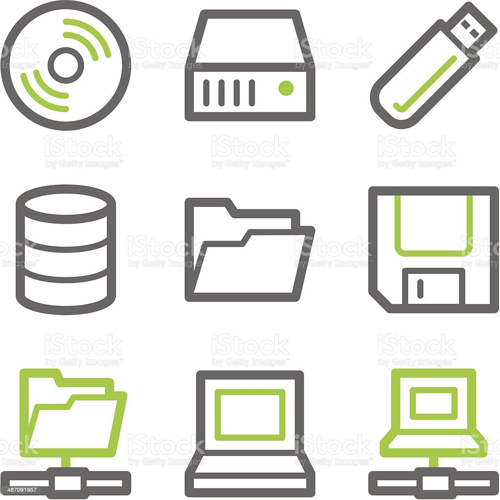 Drives and storage web icons, green gray contour series vector art illustration