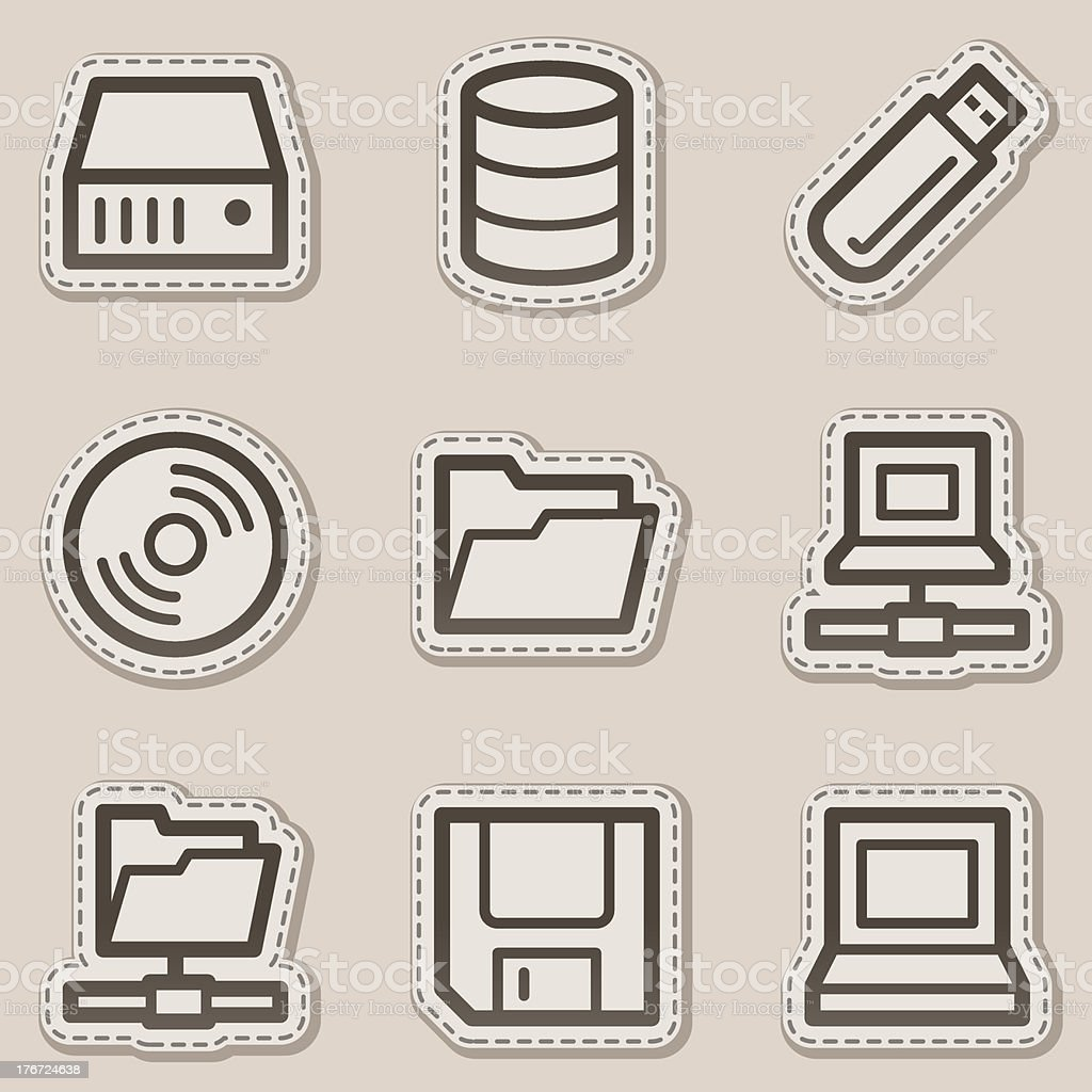 Drives and storages web icons, brown contour sticker series royalty-free stock vector art