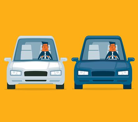 Driving a car - Businessman