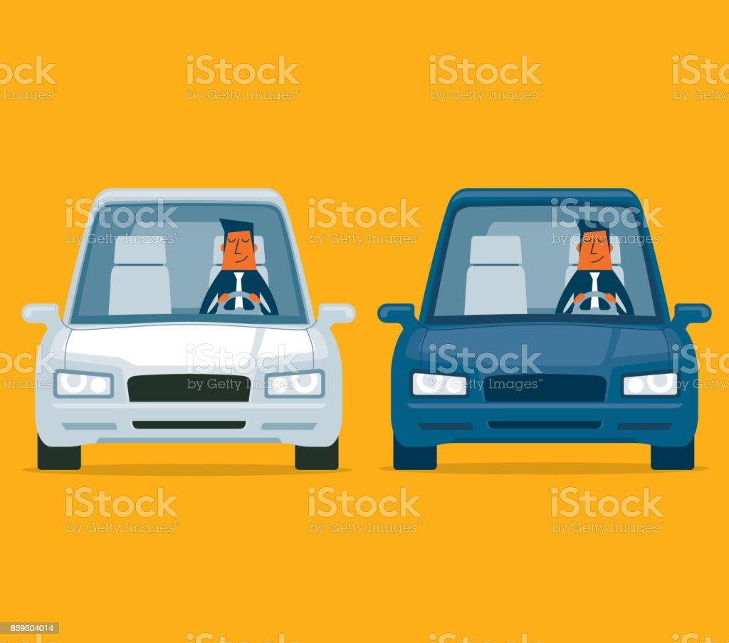 Conduire une voiture - homme d'affaires - Illustration vectorielle