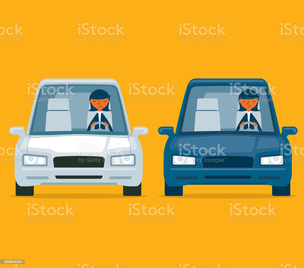 Dirigindo um carro - empresária - Vetor de A caminho royalty-free
