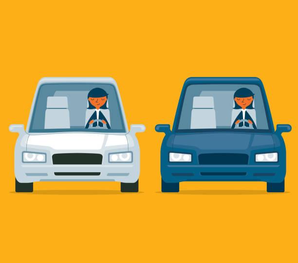 ilustrações, clipart, desenhos animados e ícones de dirigindo um carro - empresária - carro mulher