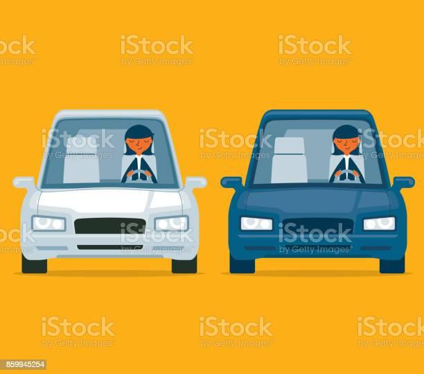 Vetores de Dirigindo Um Carro Empresária e mais imagens de A caminho
