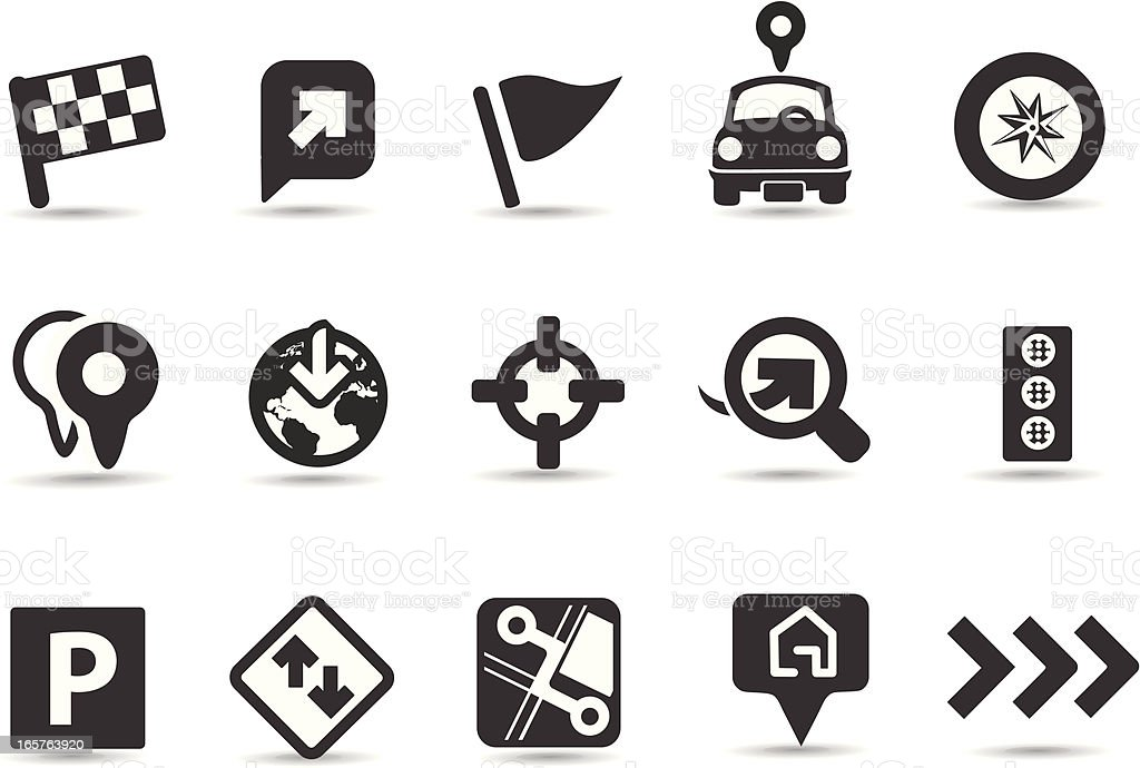 Driving and Navigation Icons vector art illustration