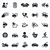 An icon set related to driving and the traffic encountered when driving. The icons include cars, vehicles, people driving, distracted driving, traffic, safety, car accident, car repair and other car ownership related icons.