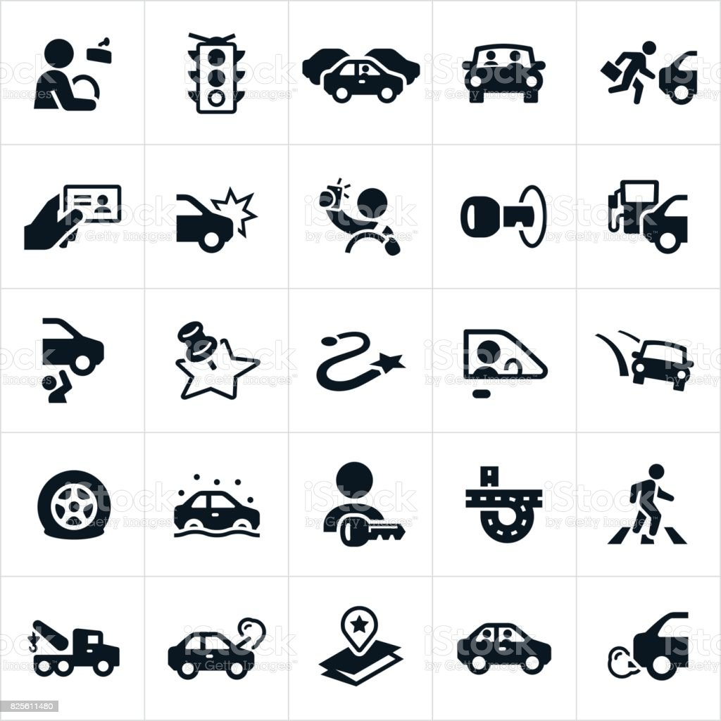 Driving and Traffic Icons - illustrazione arte vettoriale