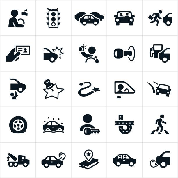 Driving and Traffic Icons vector art illustration
