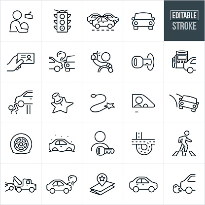 A set of traffic and driving icons that include editable strokes or outlines using the EPS vector file. The icons include a person driving a car, stoplight, traffic congestion, car, person holding drivers license, car accident, person taking selfie while driving, car key in ignition, gas pump, mechanic, map marker, flat tire, interstate, person in crosswalk, tow truck, map and other related icons.