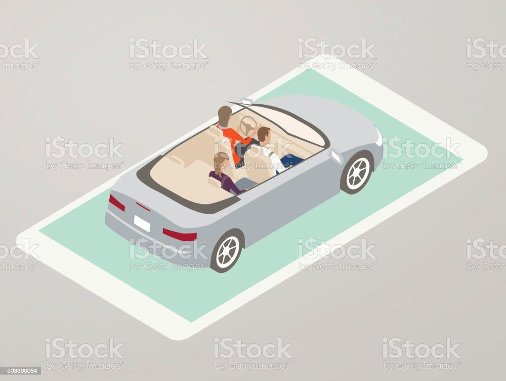 Driving App Illustration vector art illustration