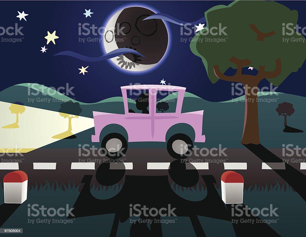 Driving at Night royalty-free driving at night stock vector art & more images of car