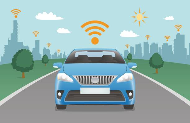 steuerwagen und drahtlose kommunikation - selbstfahrende autos stock-grafiken, -clipart, -cartoons und -symbole