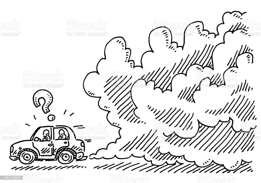 Auto Kaputt Rauchen Zeichnung Stock Vektor Art Und Mehr Bilder Von