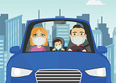 Driving car family male female baby caucasian with mask white gloves holding steering wheel in blue car with city in the background.