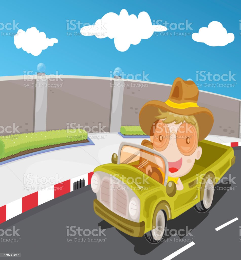 Driving car on highway royalty-free stock vector art