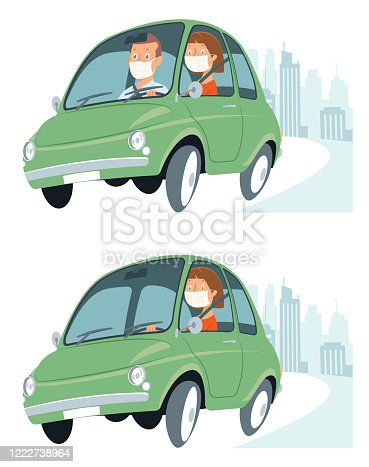 Vector Driving car using face mask character