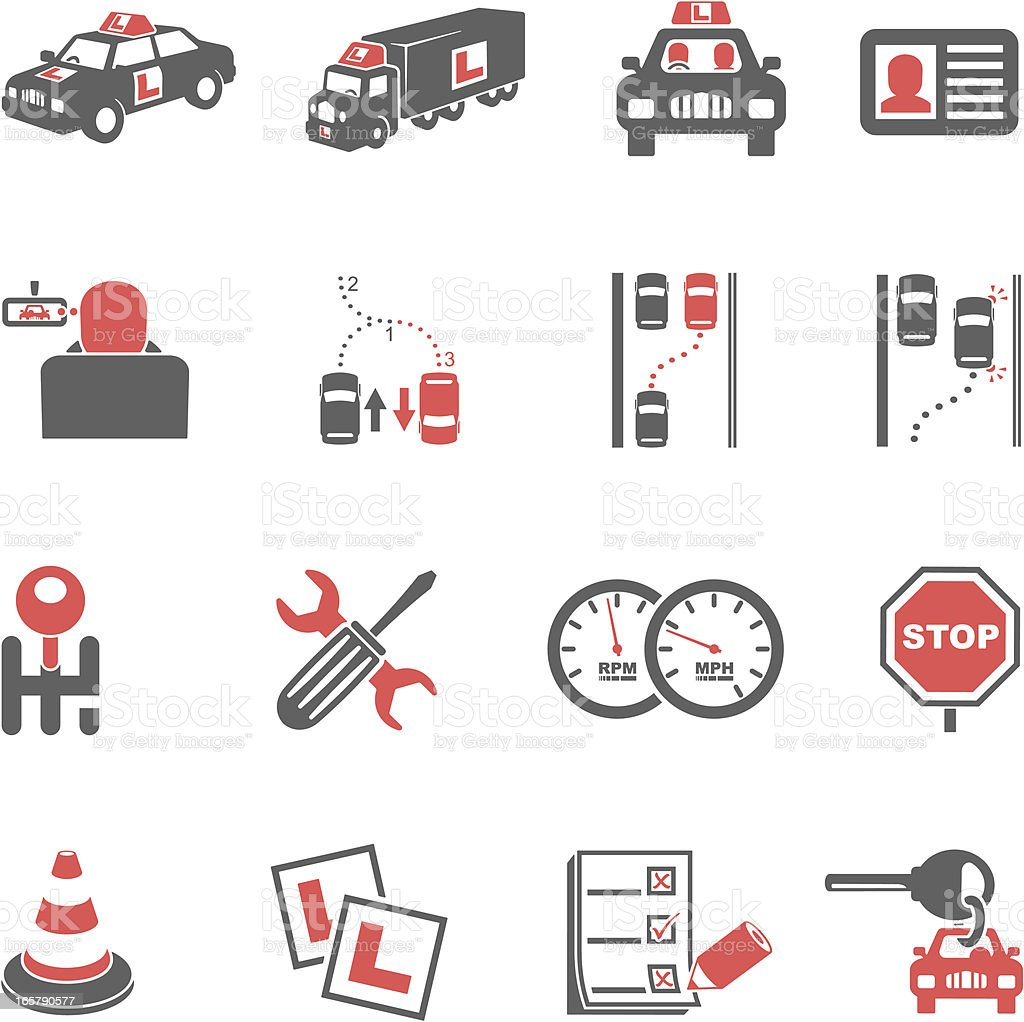 Driving Lessons Icons royalty-free stock vector art