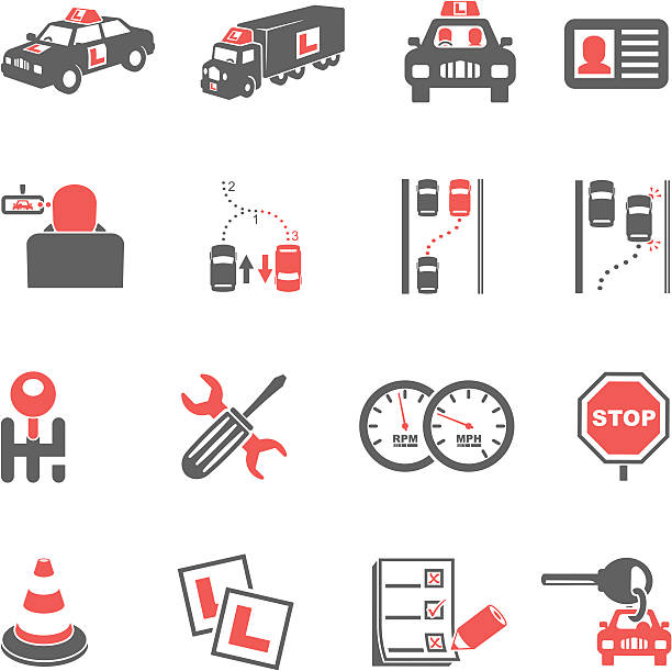 Driving Lessons Icons vector art illustration