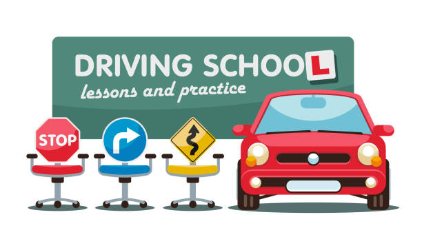 ilustraciones, imágenes clip art, dibujos animados e iconos de stock de lecciones de conducción en la autoclase de la escuela de conducción - aprender a conducir