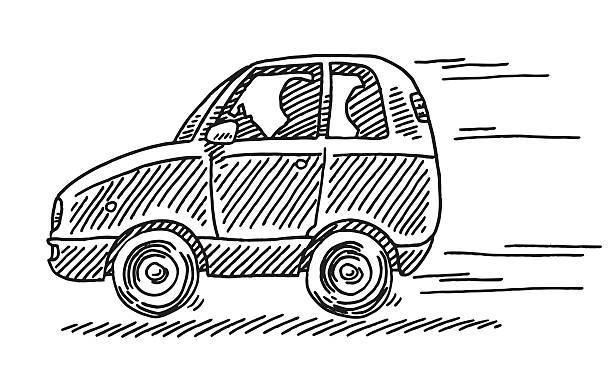 Driving Little Car Side View Drawing Hand-drawn vector drawing of a Driving Little Car, Side View. Black-and-White sketch on a transparent background (.eps-file). Included files are EPS (v10) and Hi-Res JPG. transportation stock illustrations