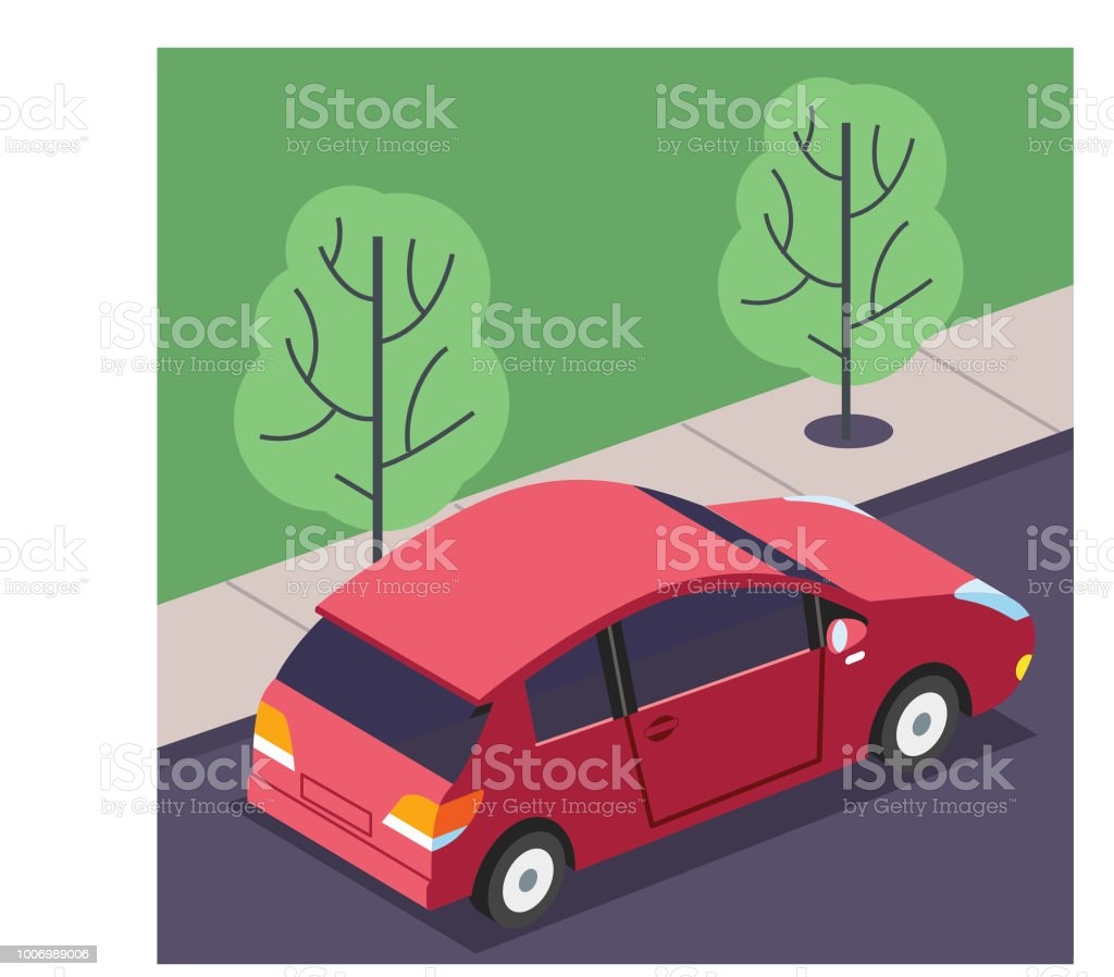 Driving on the streets vector art illustration