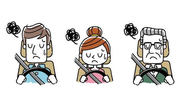 Driving people: puzzled, depressed Driving people: puzzled, depressed 悩む stock illustrations