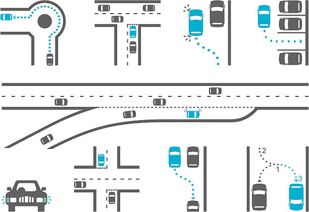 stockillustraties, clipart, cartoons en iconen met driving school diagram icons - rotonde kruispunt