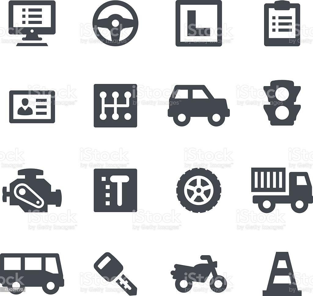 Driving School Icons vector art illustration