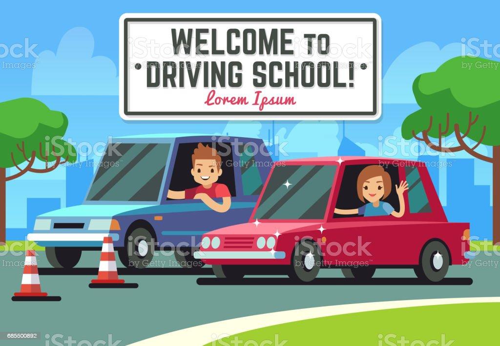 Fond de vecteur école conduite avec le jeune pilote heureux dans les voitures sur la route - Illustration vectorielle
