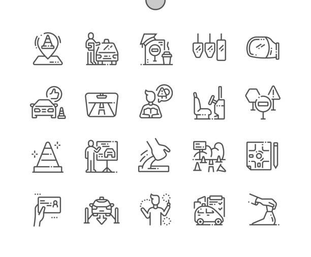 ilustraciones, imágenes clip art, dibujos animados e iconos de stock de escuela de conducción bien elaborado pixel perfect vector thin line iconos 30 2x cuadrícula para gráficos web y aplicaciones. pictograma mínimo simple - aprender a conducir