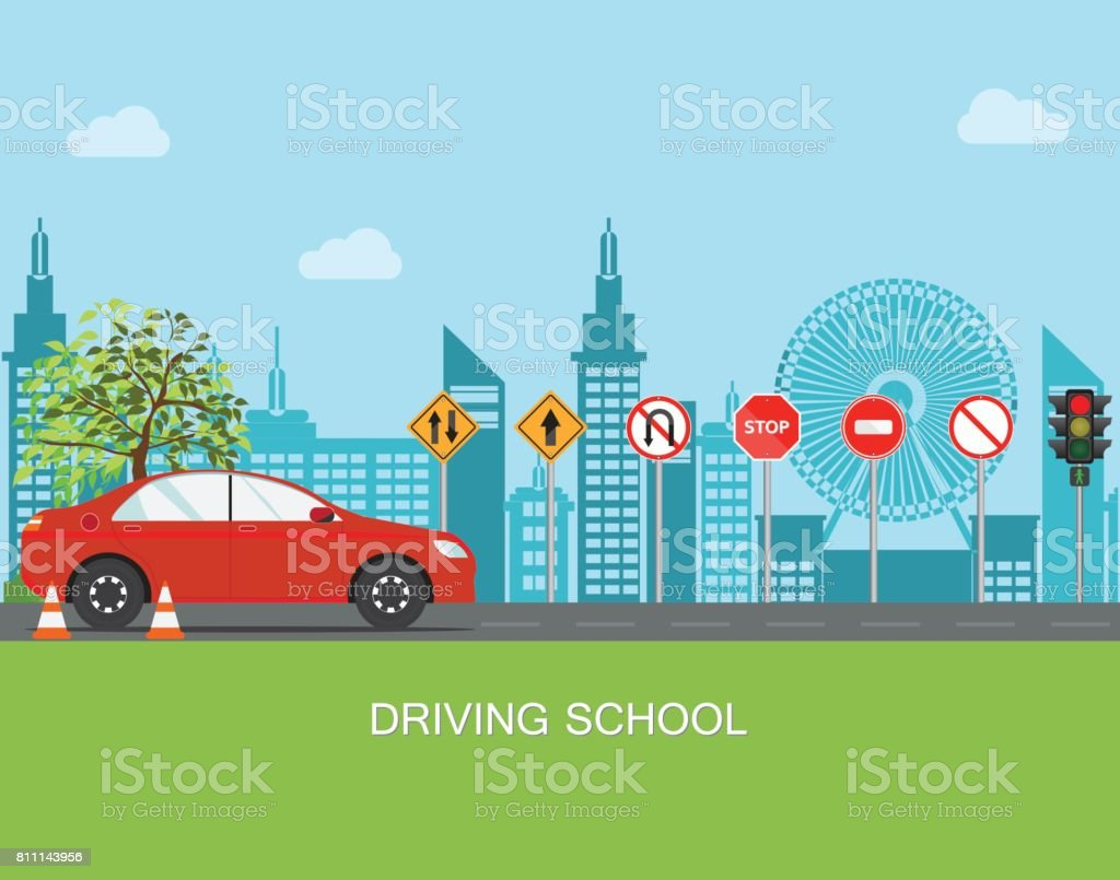 Driving school with car and traffic sign. vector art illustration