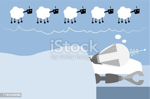 istock Droid dreaming of robotic sheeps 1194548090