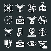 Vector set of Quadcopter and drone icons and symbols