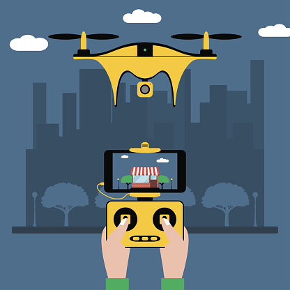 Drone and remote control. Hands hold a radio controller with screen to quadcopter flying over city. Quadricopter with a video camera. Vector illustration.